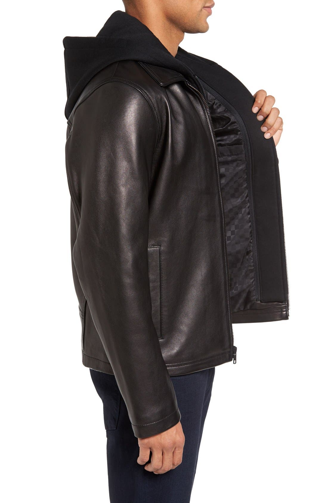 Leather Jacket with Removable Hooded Bib,                             Alternate thumbnail 3, color,                             Black