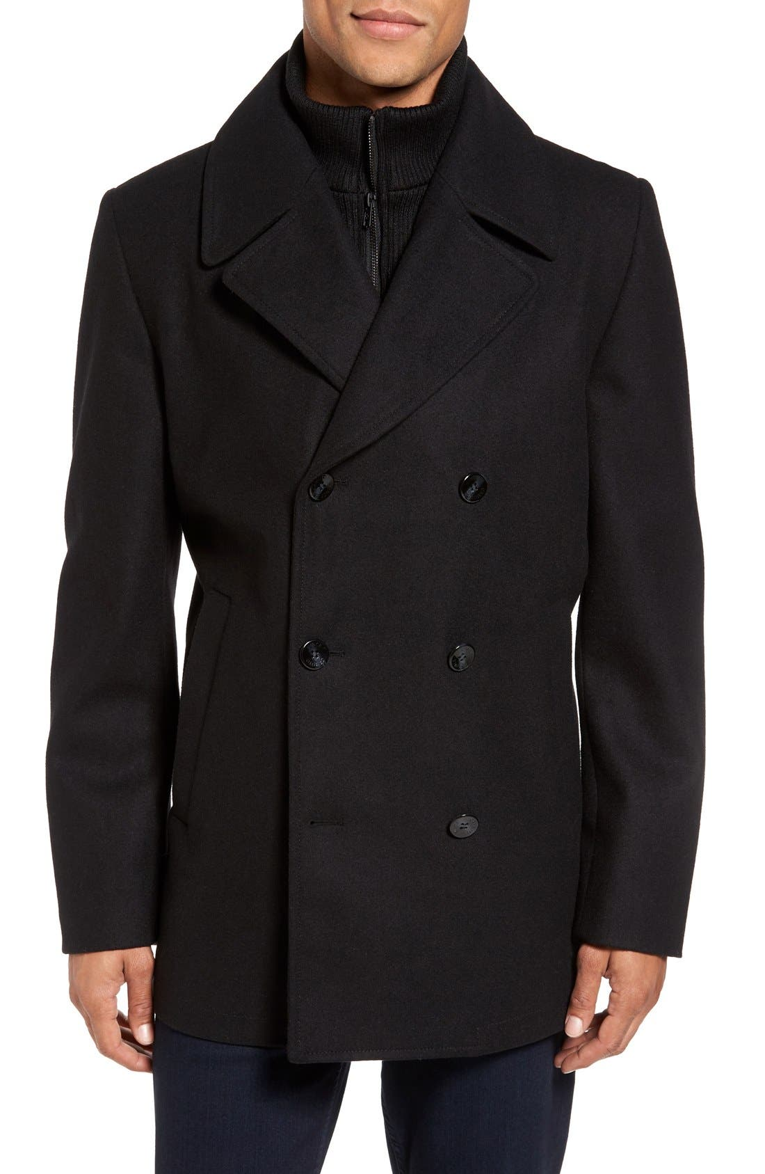 Dock Peacoat,                             Main thumbnail 1, color,                             Black