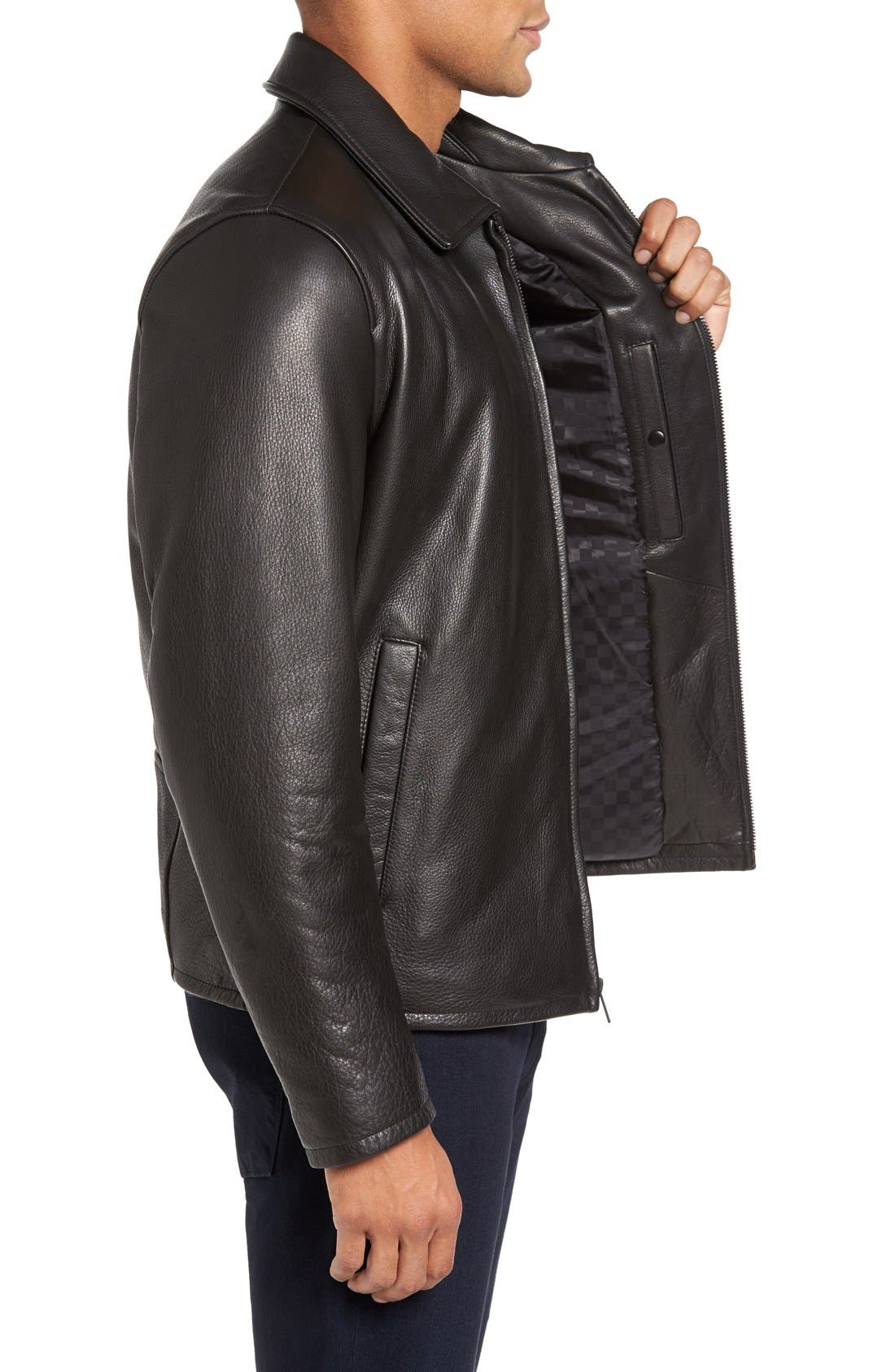 Leather Zip Front Jacket,                             Alternate thumbnail 3, color,                             Black