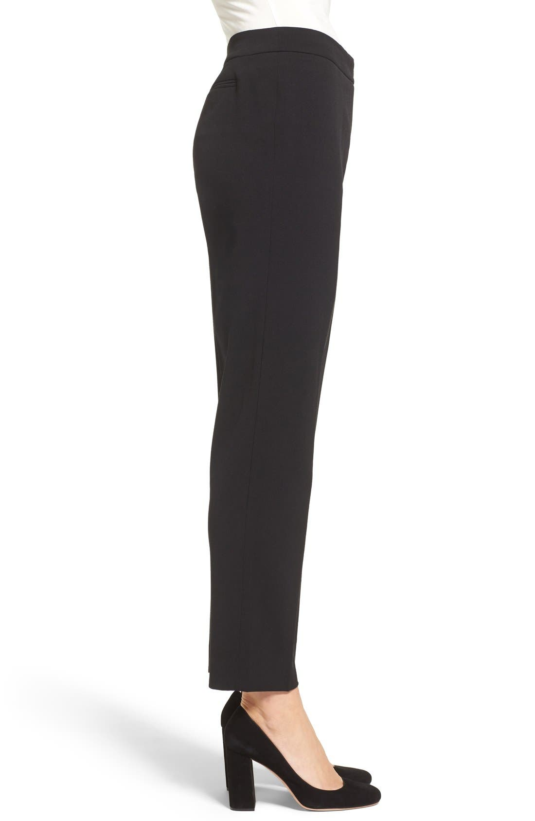 Slim Suit Pants,                             Alternate thumbnail 3, color,                             Anne Klein Black