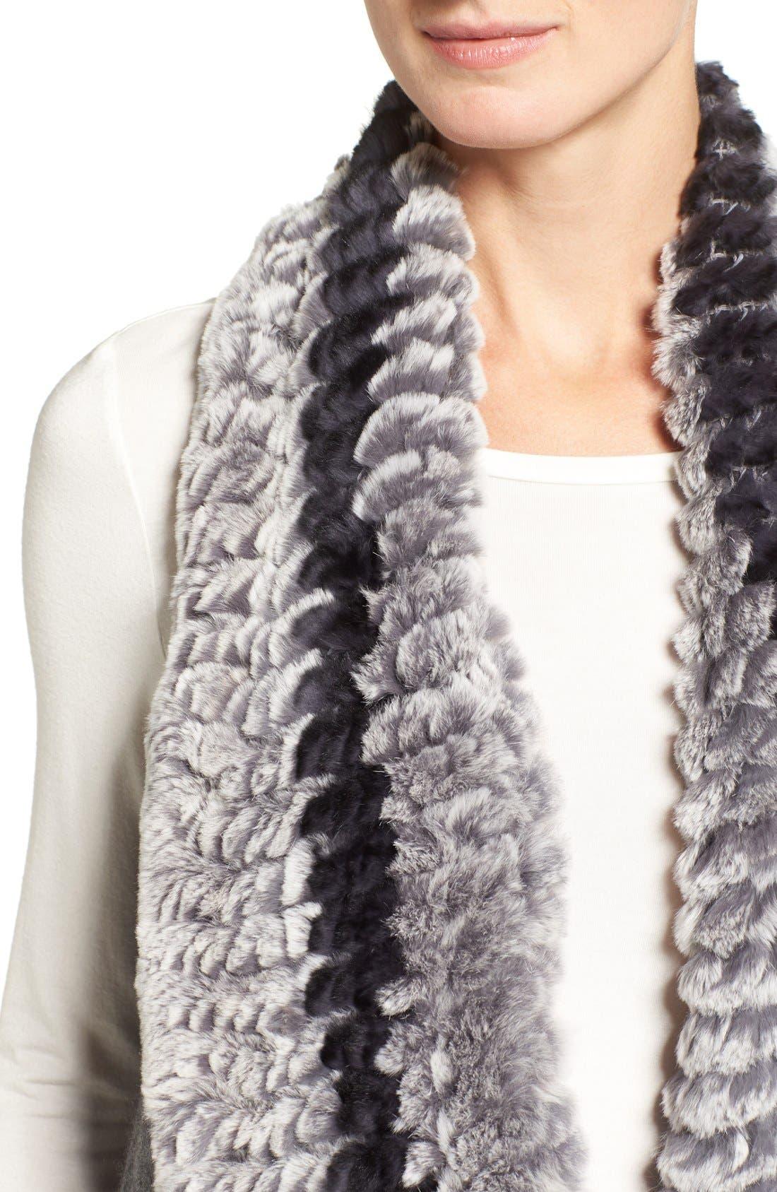 Cashmere Drape Vest with Genuine Rex Rabbit Fur Trim,                             Alternate thumbnail 4, color,                             Grey