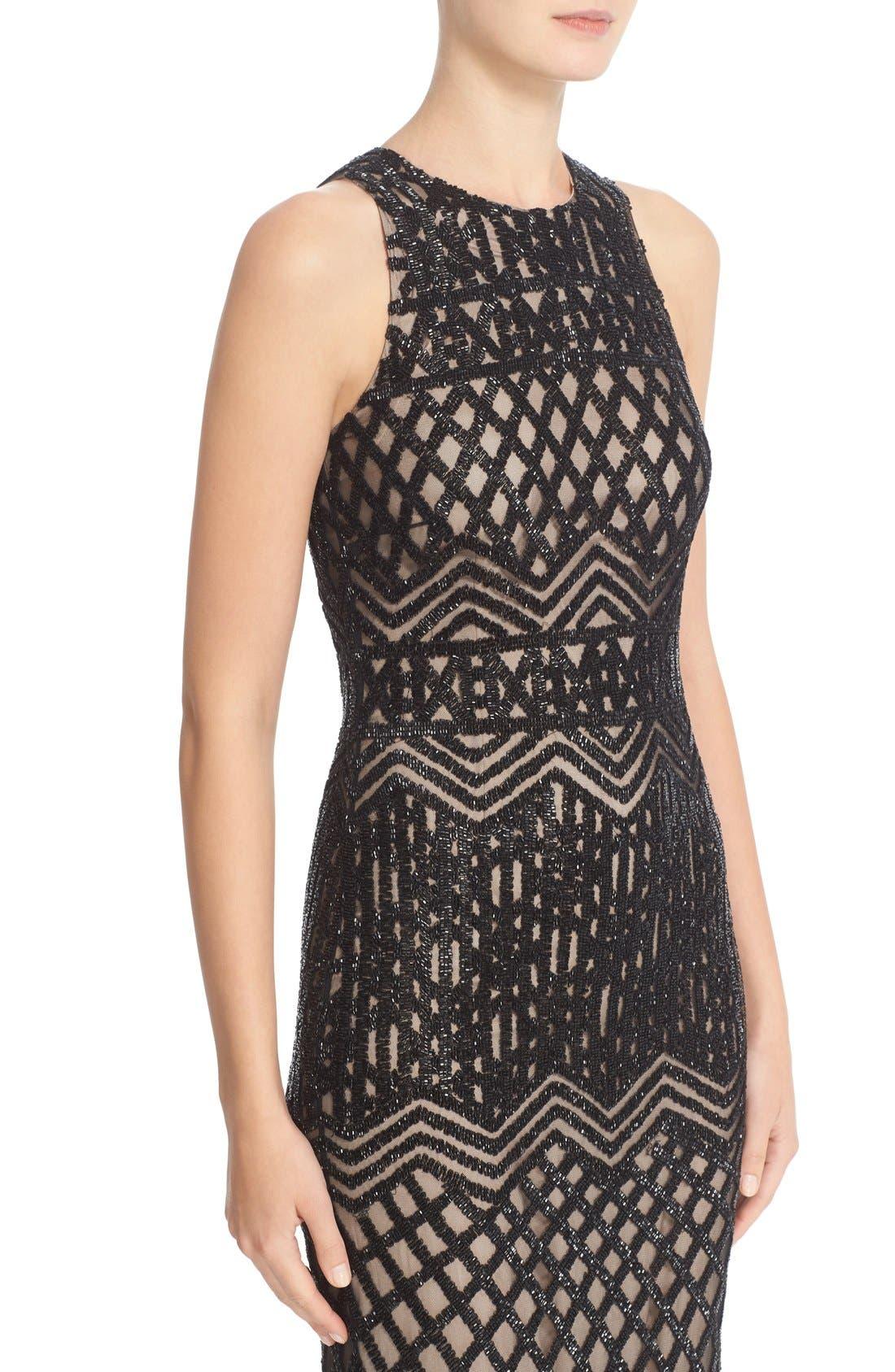 Beaded High Neck Mermaid Gown,                             Alternate thumbnail 6, color,                             Black