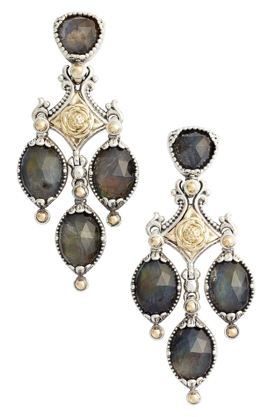 Cassiopeia Triple Drop Chandelier Earrings,                             Main thumbnail 1, color,                             Labradorite
