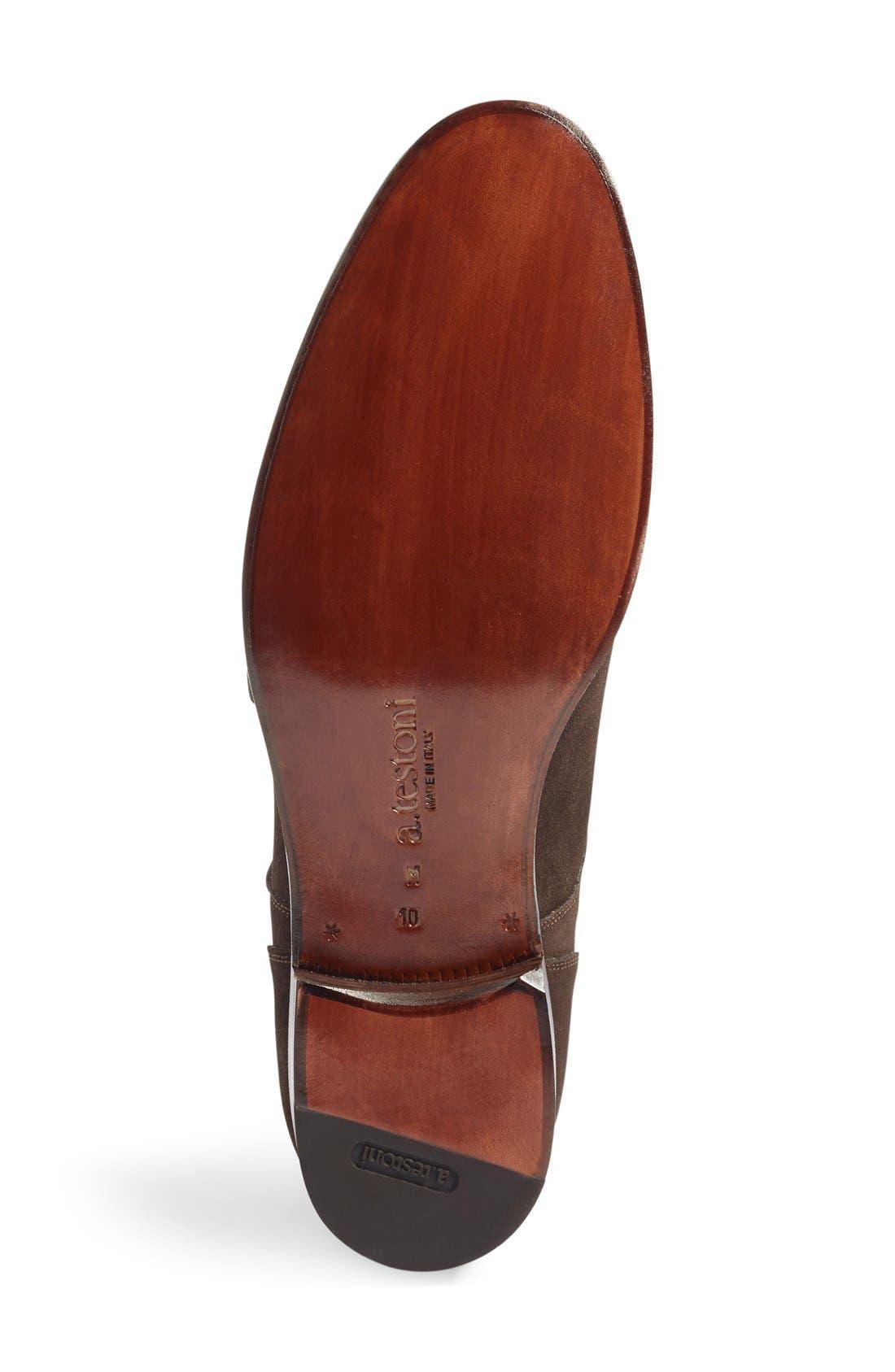 Double Monk Strap Shoe,                             Alternate thumbnail 5, color,                             Dark Brown Suede