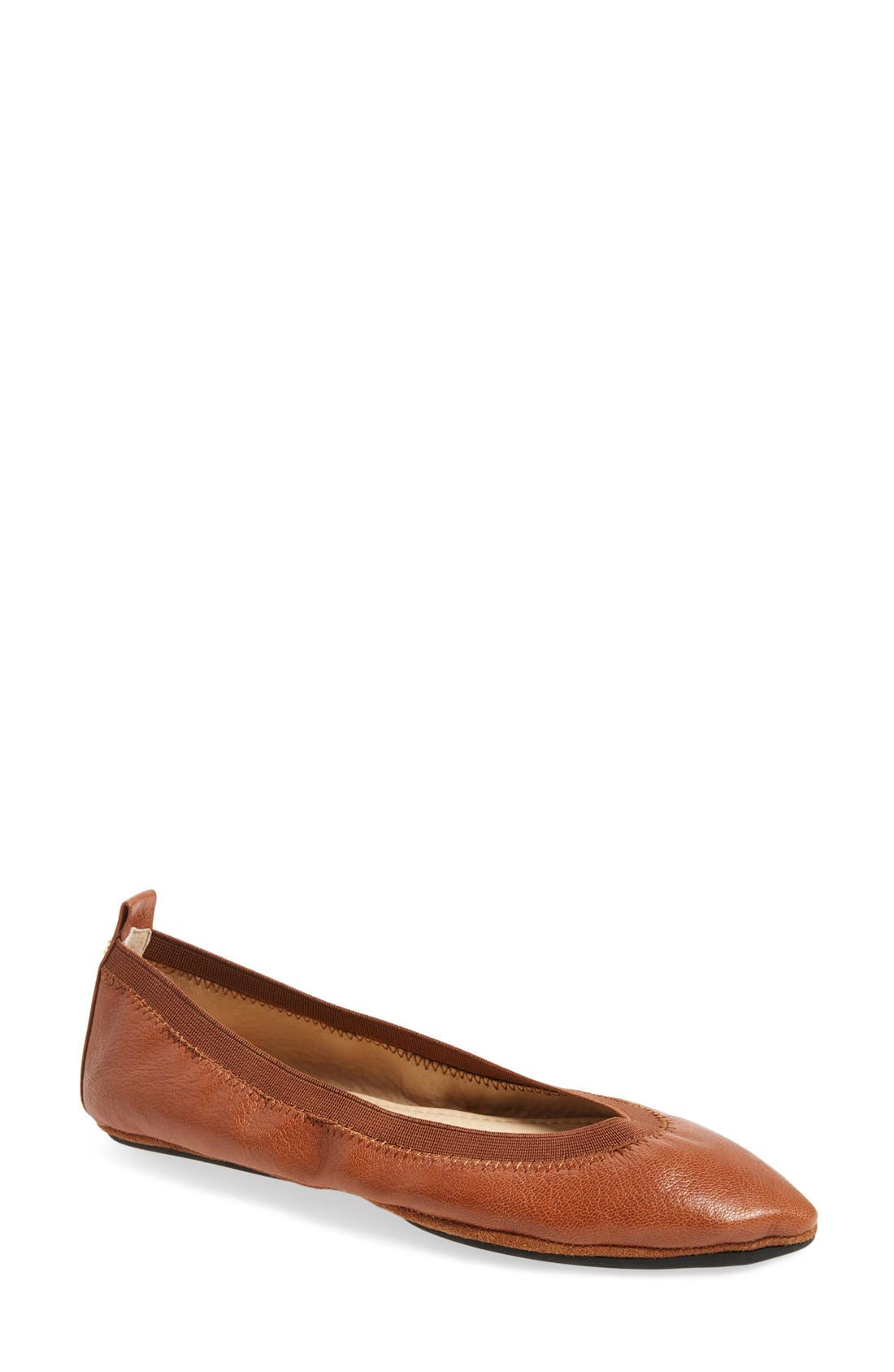 Vienna Foldable Pointy Toe Flat,                             Main thumbnail 1, color,                             Dark Whiskey Leather
