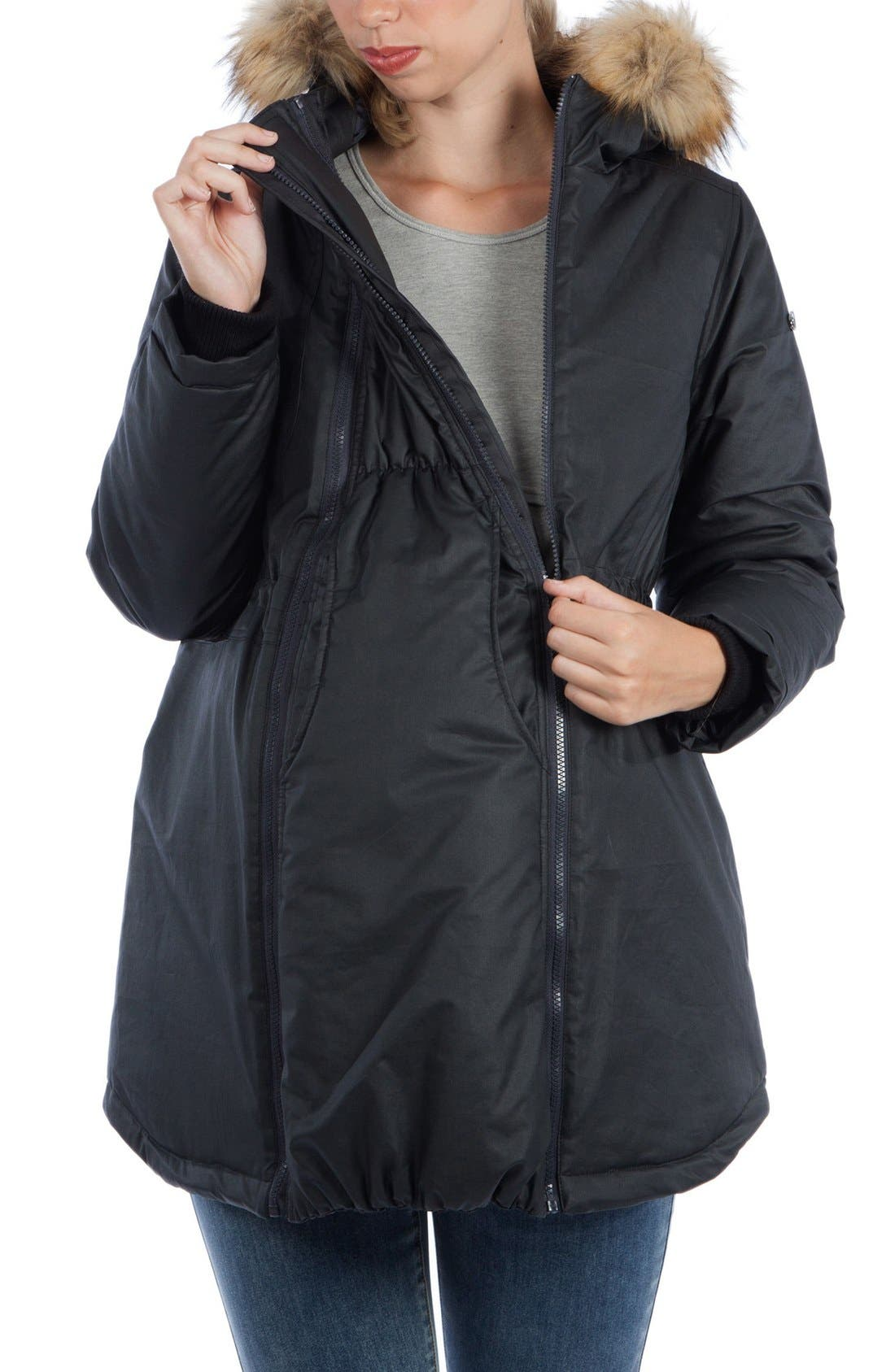 Sofia Waxed 3-in-1 Maternity/Nursing Jacket with Faux Fur Trim,                             Alternate thumbnail 5, color,                             Black