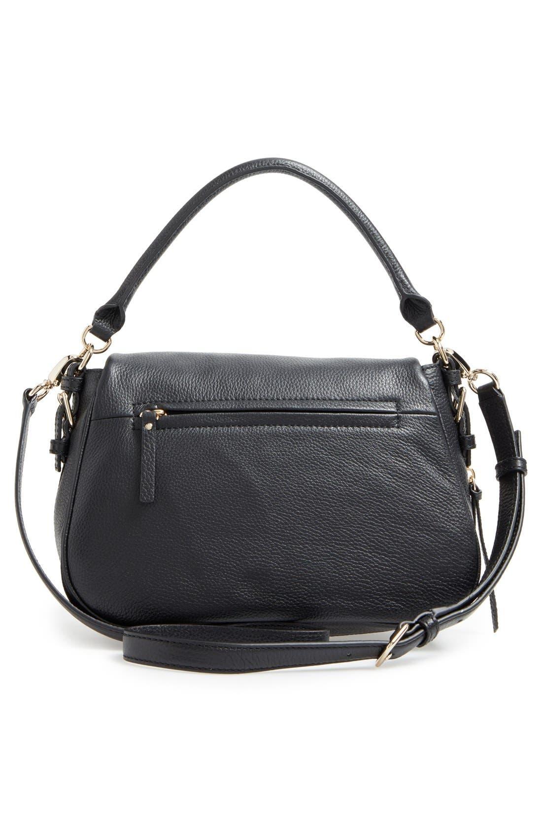 cobble hill - deva leather crossbody bag,                             Alternate thumbnail 3, color,                             Black