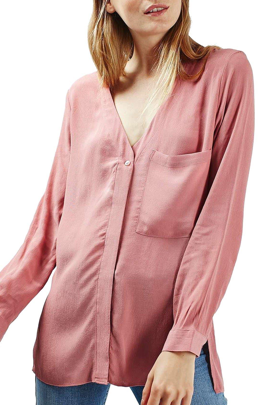 Main Image - Topshop Slouchy Pocket Long Sleeve Blouse