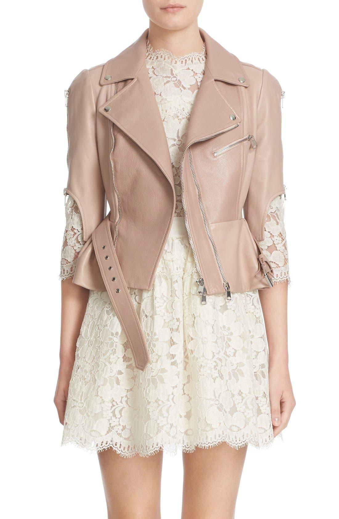 Alternate Image 1 Selected - Alexander McQueen Crop Lambskin Leather Jacket