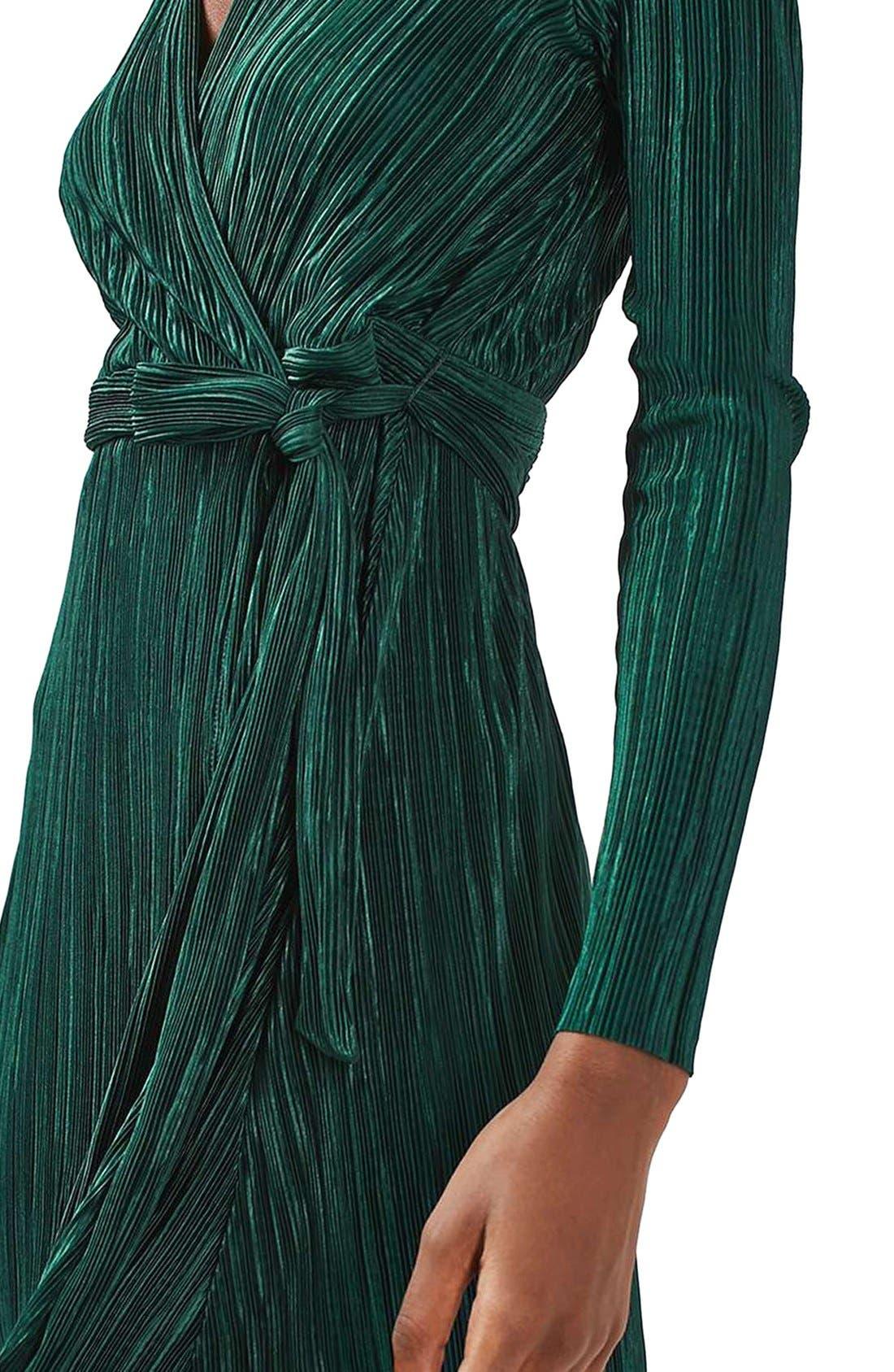Alternate Image 5  - Topshop Plissé Wrap Minidress (Regular & Petite)