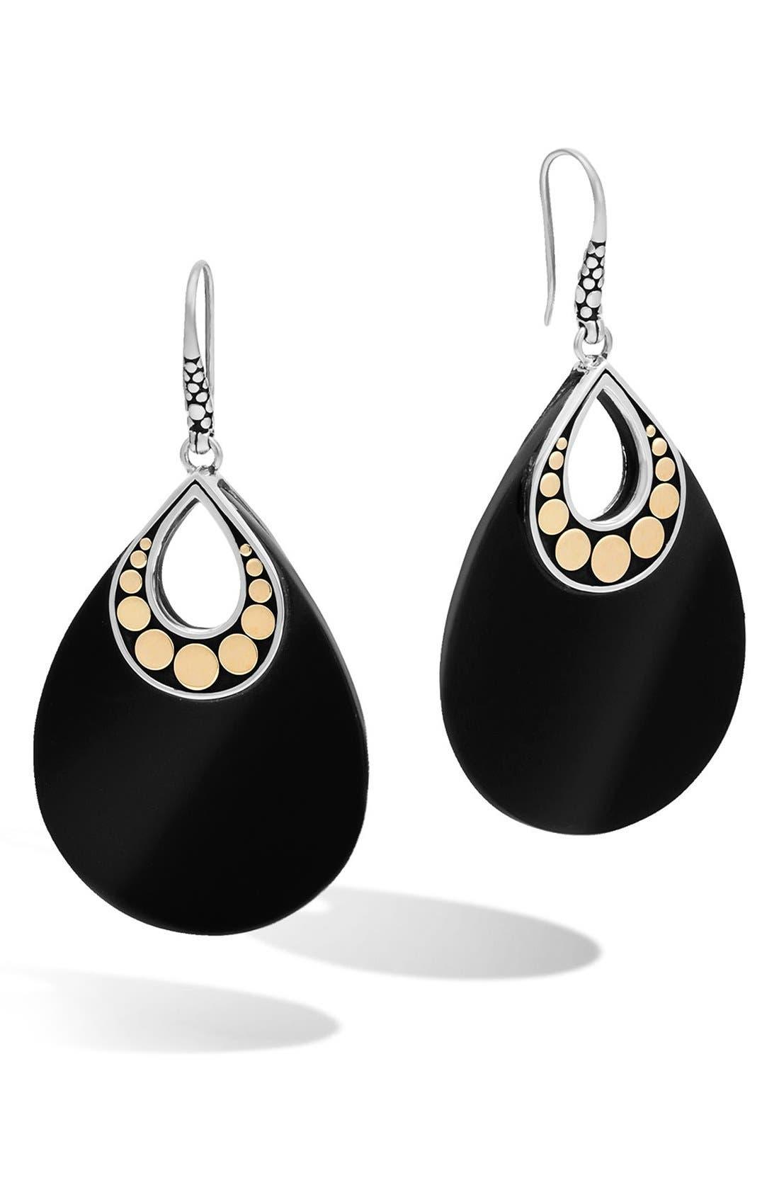 'Dot' Drop Earrings,                             Main thumbnail 1, color,                             Silver/ Black Chalcedony
