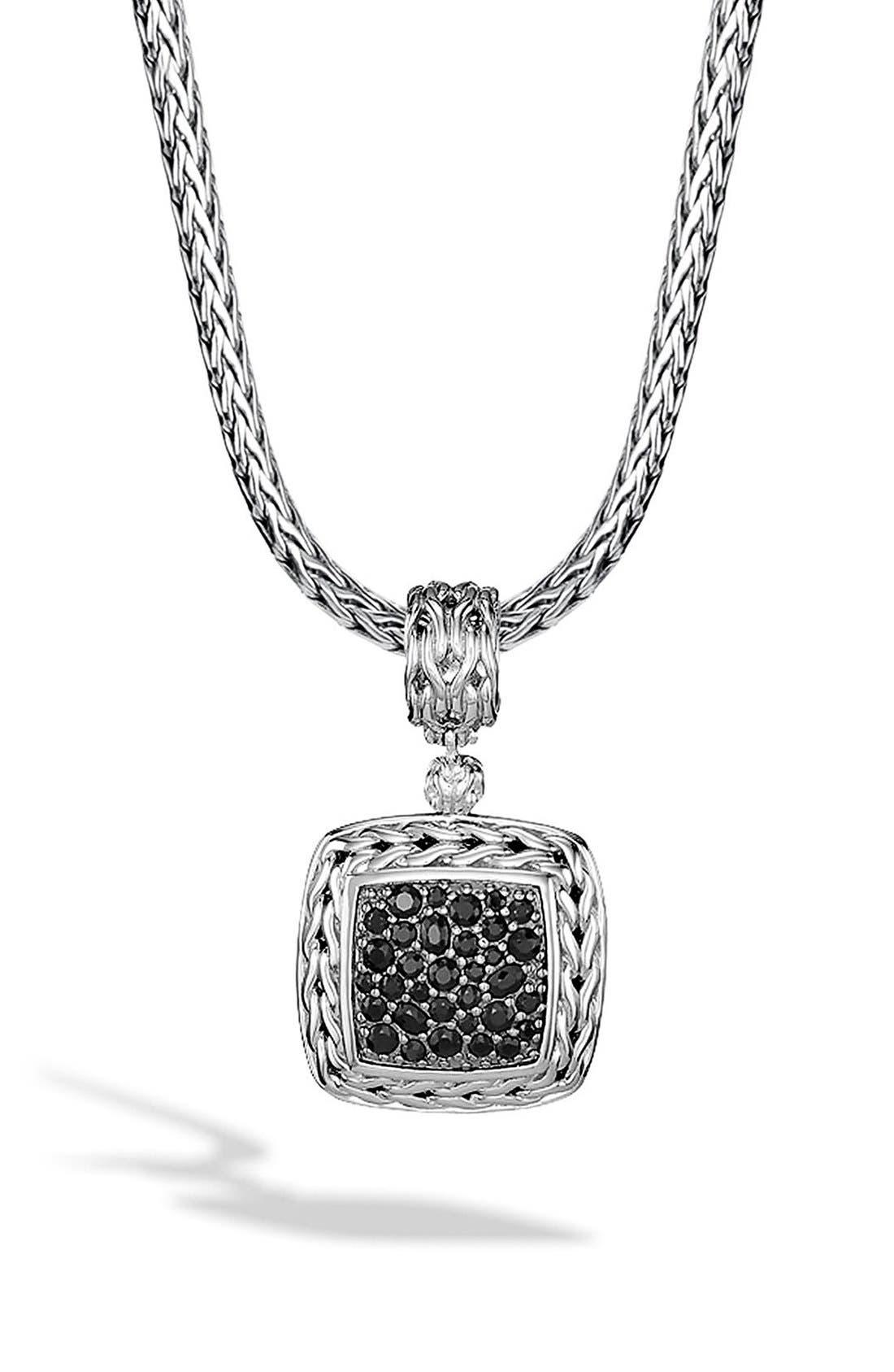 'Classic Chain' Square Pendant,                         Main,                         color, Silver/ Black Sapphire