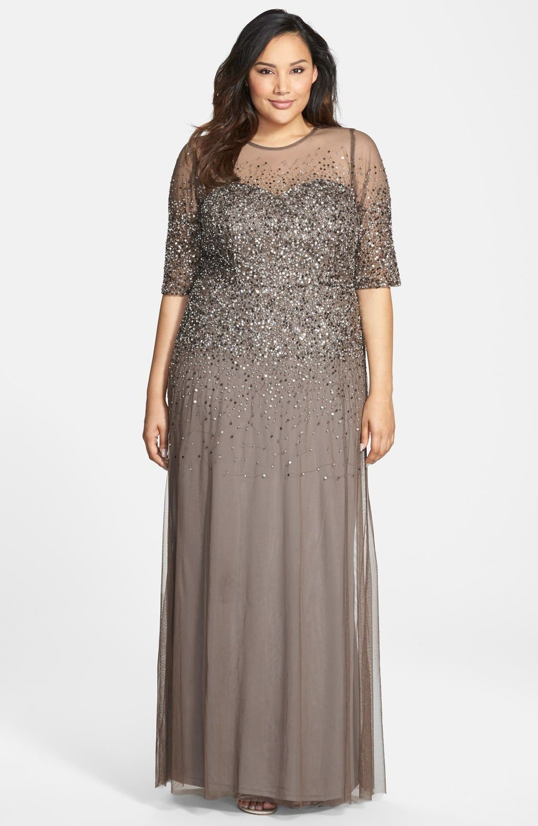 Alternate Image 1 Selected - Adrianna Papell Beaded Illusion Gown (Plus Size)