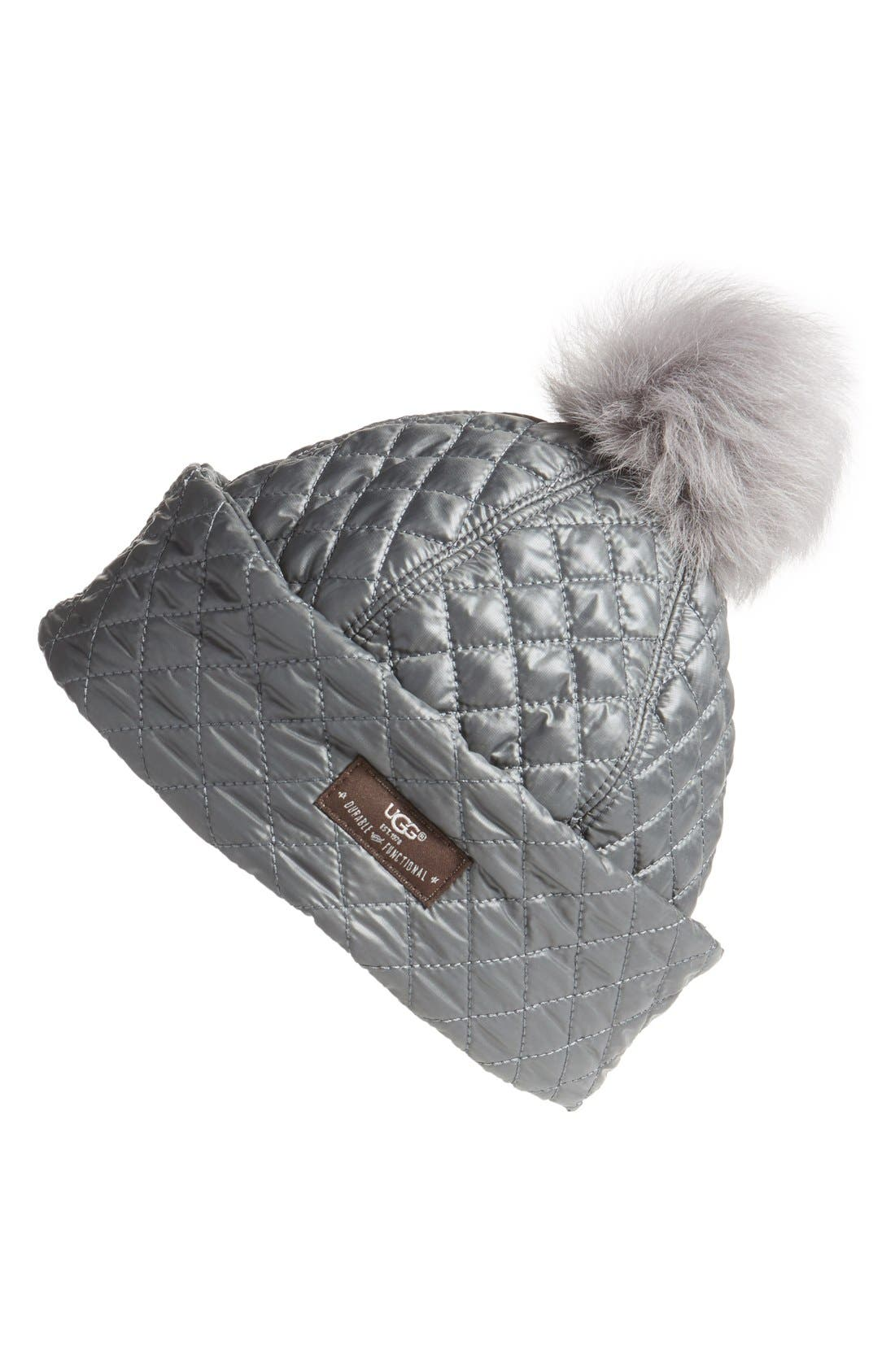 UGG® Australia Water ResistantQuilted Hat with Genuine ShearlingPompom