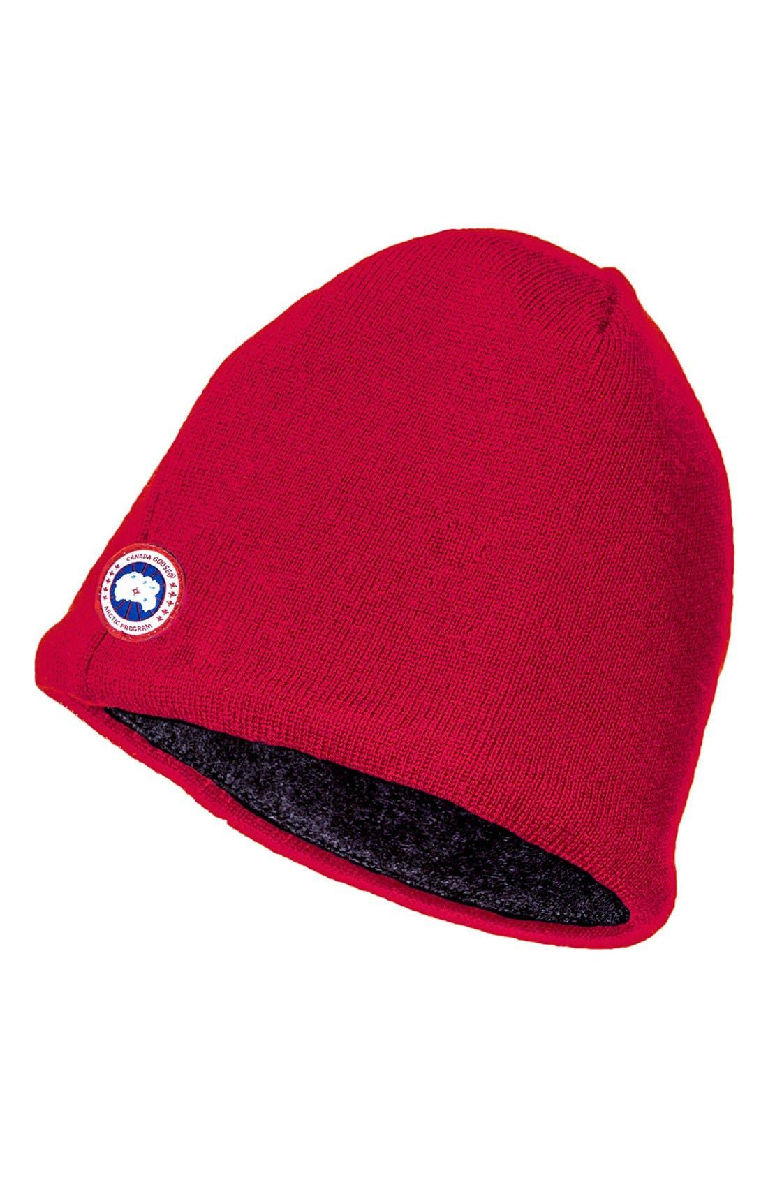 Merino Wool Beanie,                             Main thumbnail 1, color,                             Red