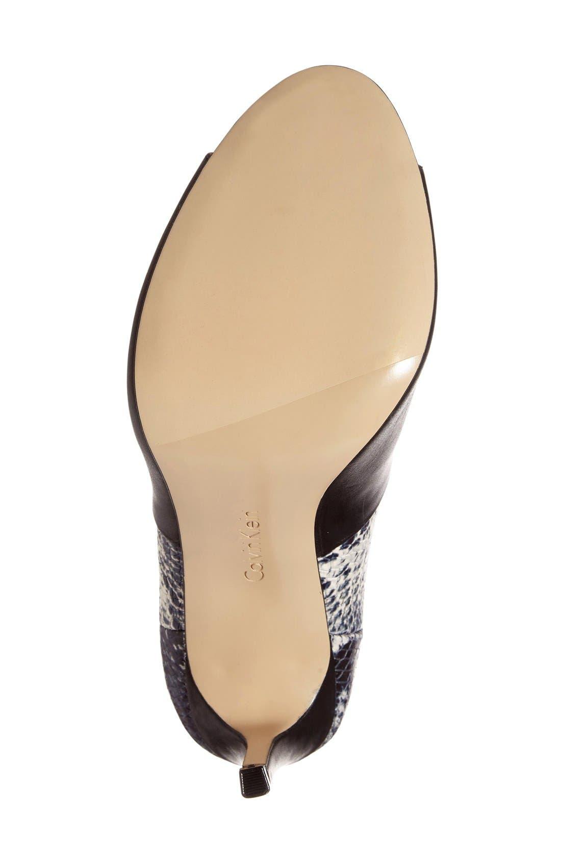 Sarine Peep Toe Bootie,                             Alternate thumbnail 4, color,                             Black/ White Leather