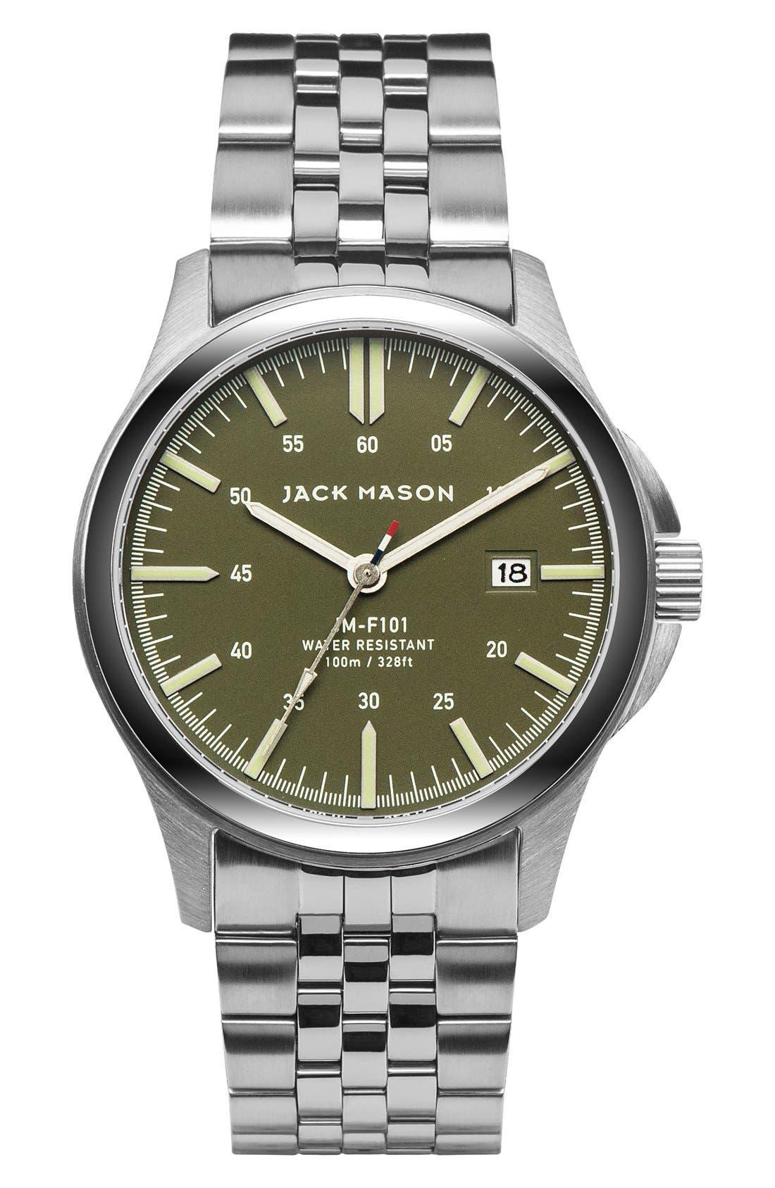 Field Bracelet Watch, 42mm,                         Main,                         color, Green/ Silver
