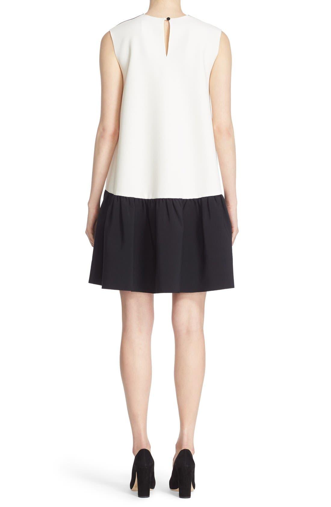 Fuji Colorblock Ruffle Hem Trapeze Dress,                             Alternate thumbnail 2, color,                             Black/ White