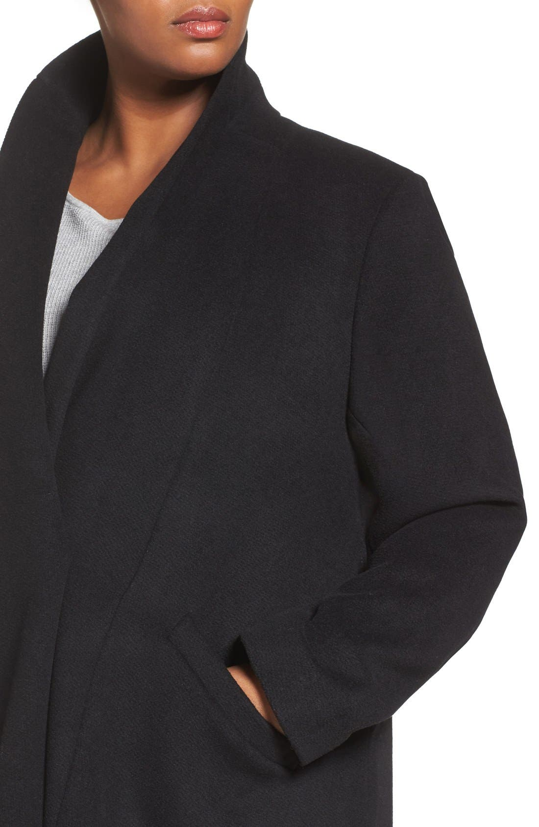 Alternate Image 4  - Calvin Klein Lux Basketweave Flyaway Coat (Plus Size)