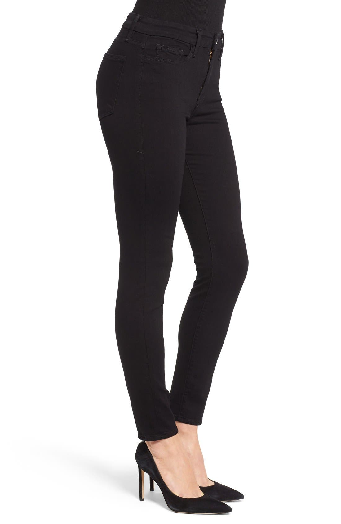 Alternate Image 3  - Good American Good Legs High Rise Skinny Jeans (Black 001)