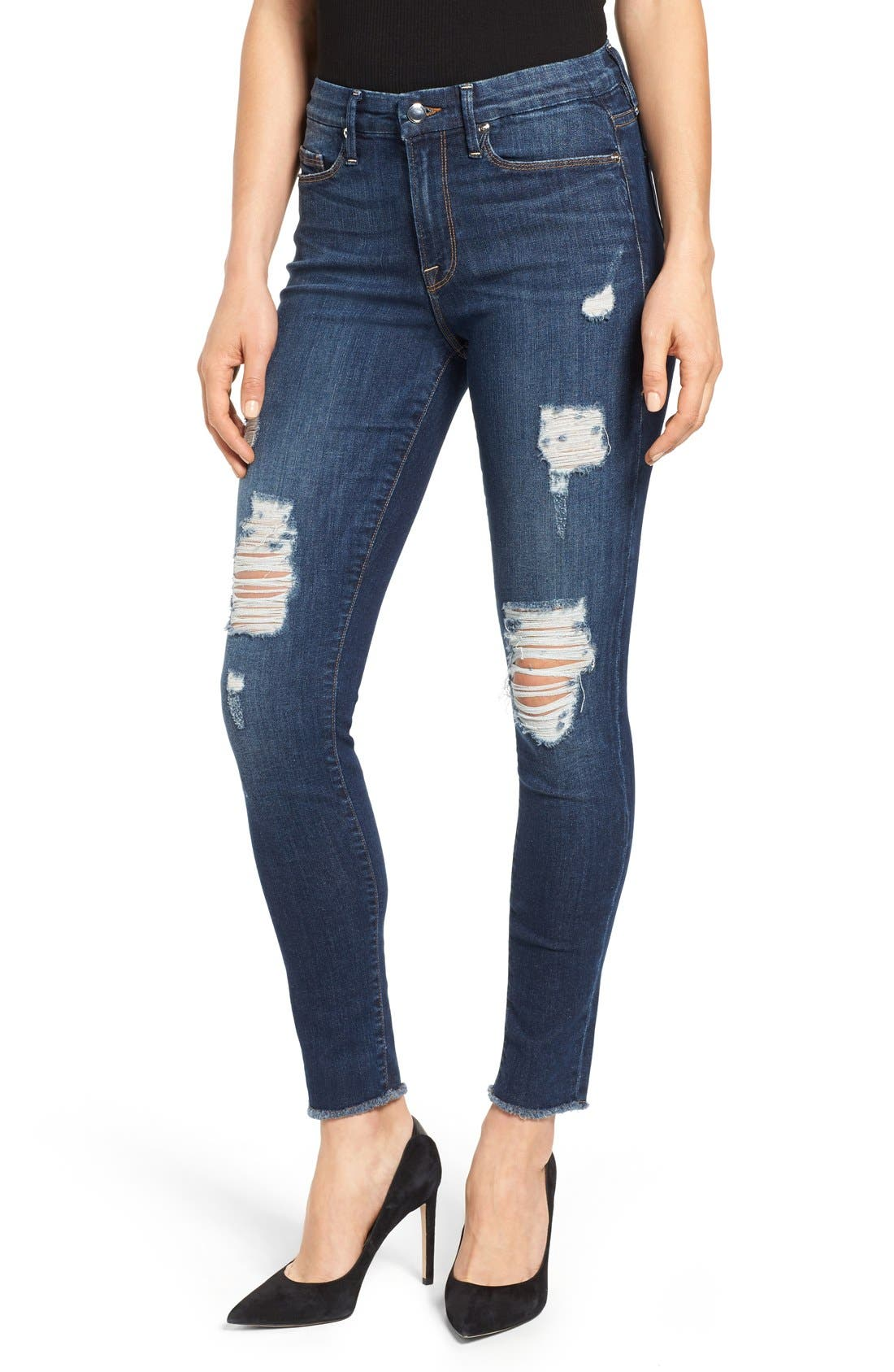 Good American Good Legs High Rise Ripped Skinny Jeans (Blue 003) (Extended Sizes)