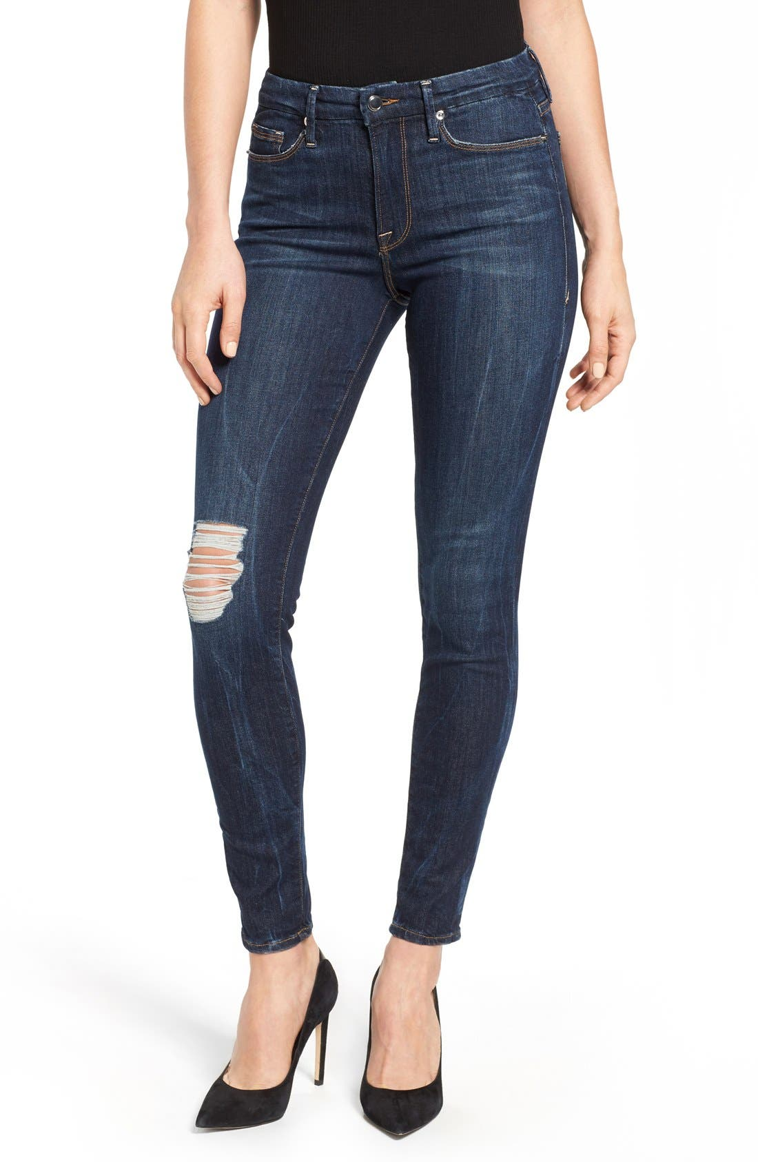Alternate Image 1 Selected - Good American Good Legs Ripped Skinny Jeans (Blue 002)