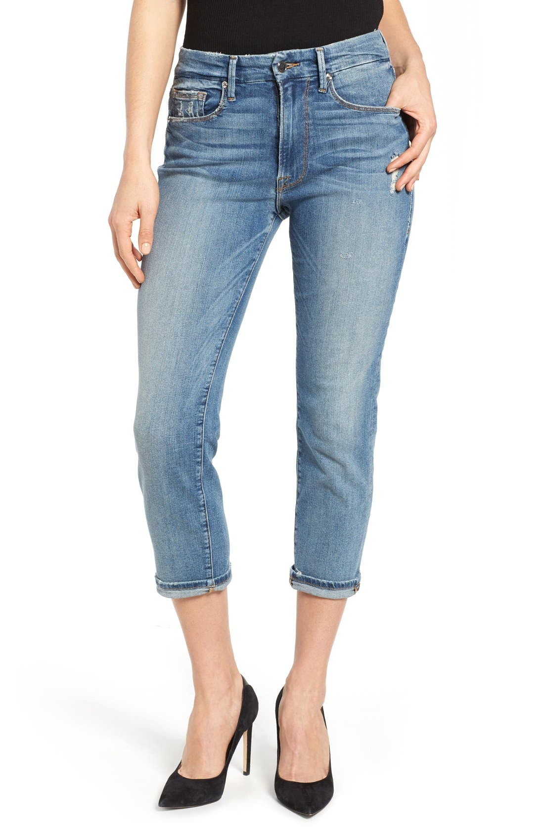 Main Image - Good American Good Cuts High Rise Boyfriend Jeans (Blue 012) (Extended Sizes)