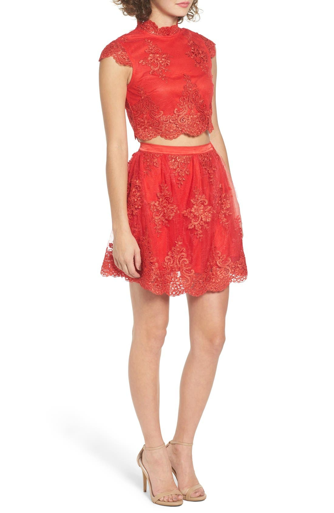 Alternate Image 3  - a. drea Lace Cap Sleeve Two-Piece Skater Dress