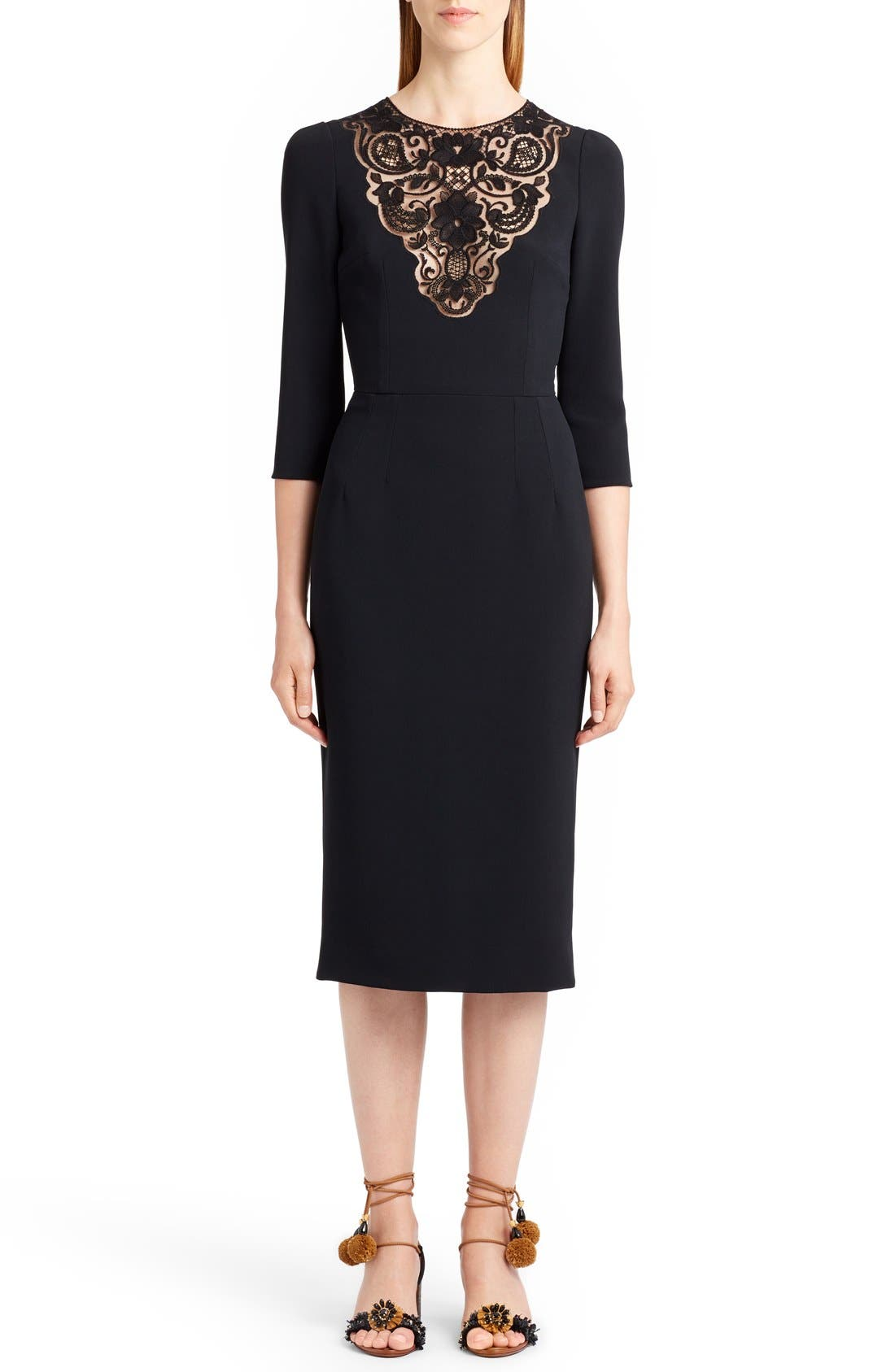 Lace Inset Sheath Dress,                         Main,                         color, Black