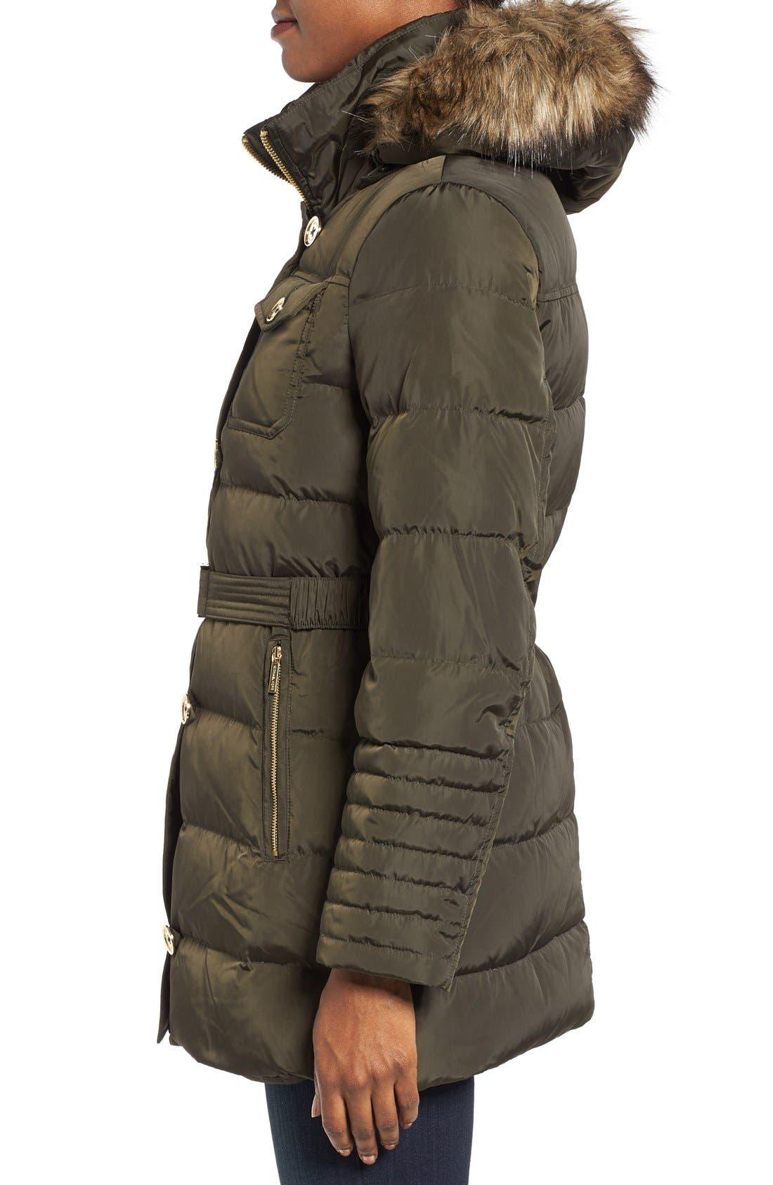Alternate Image 3  - MICHAEL Michael Kors Faux Fur Trim Belted Down & Feather Fill Coat