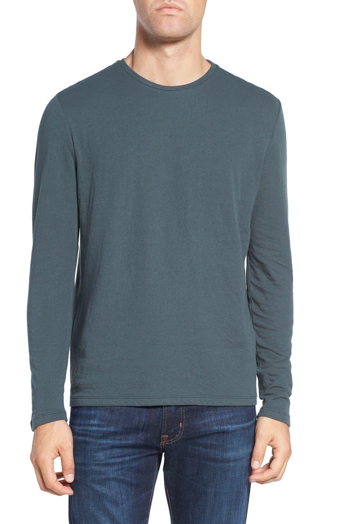 Long Sleeve Crewneck T-Shirt,                         Main,                         color, Loden
