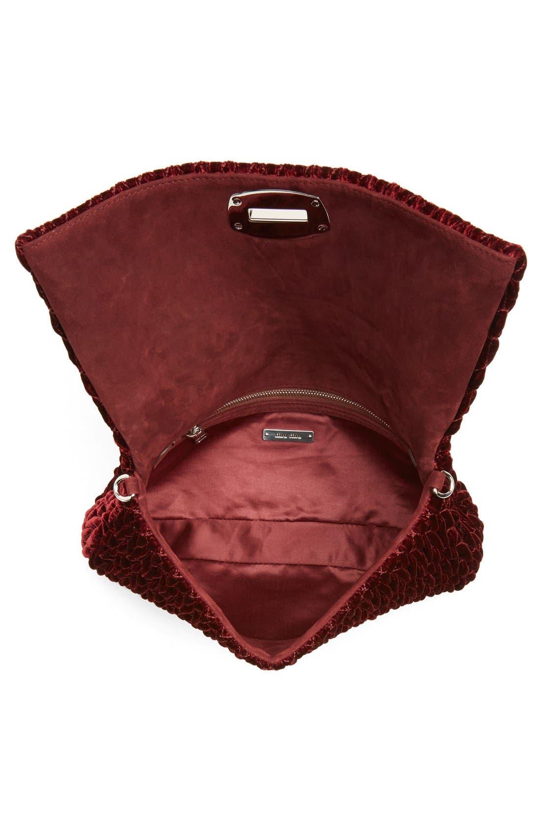 Medium Crystal Embellished Quilted Velvet Shoulder Bag,                             Alternate thumbnail 4, color,                             Bordeaux