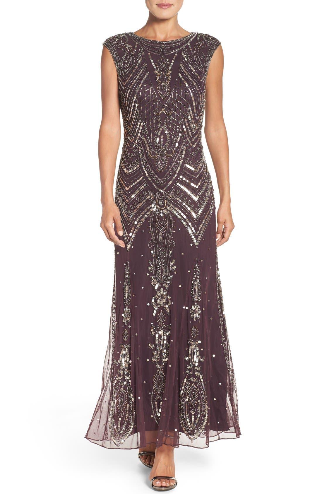 Main Image - Pisarro Nights Embellished Gown (Regular & Petite)