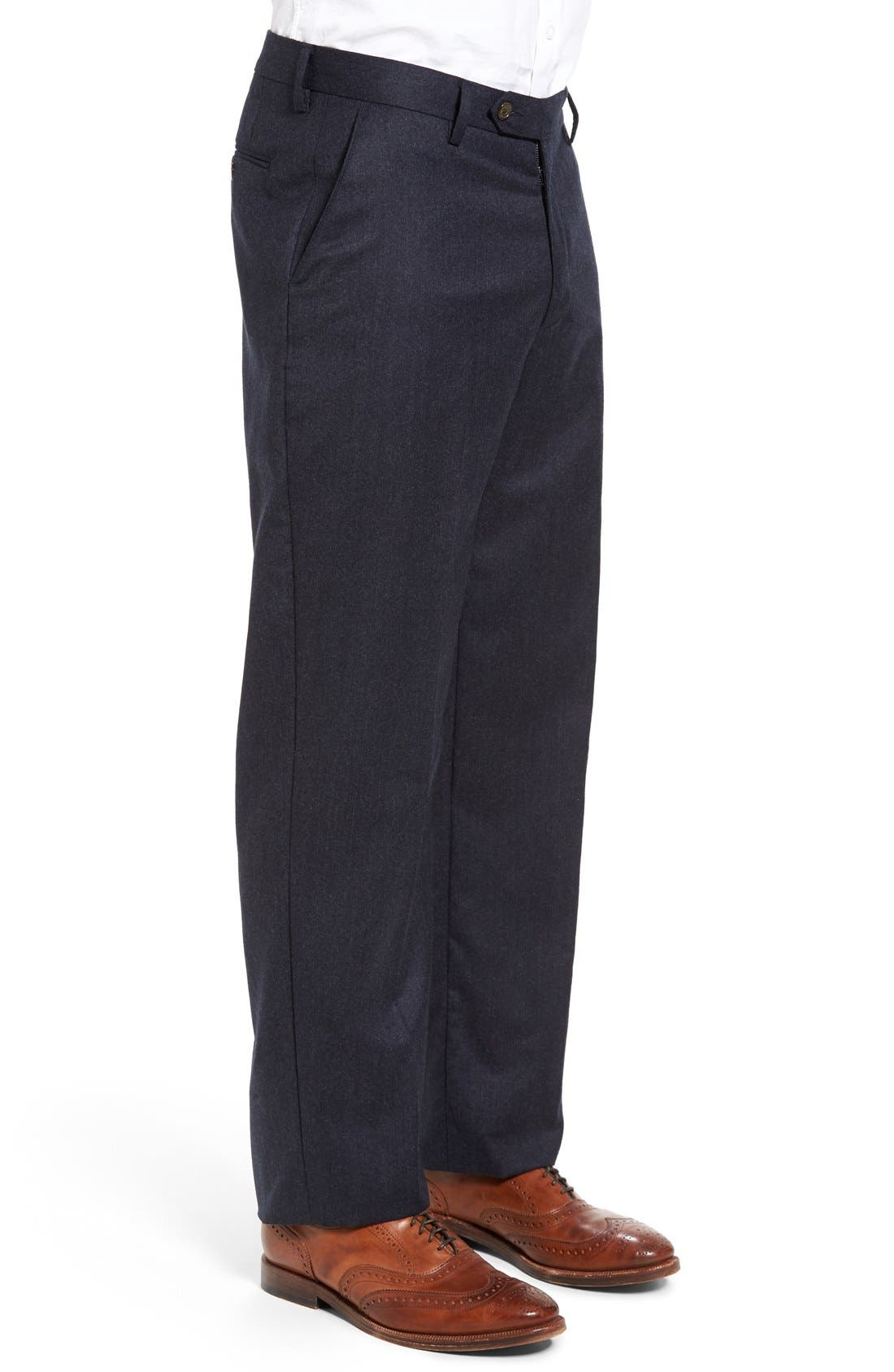 Flat Front Solid Wool Trousers,                             Alternate thumbnail 3, color,                             Heather Navy