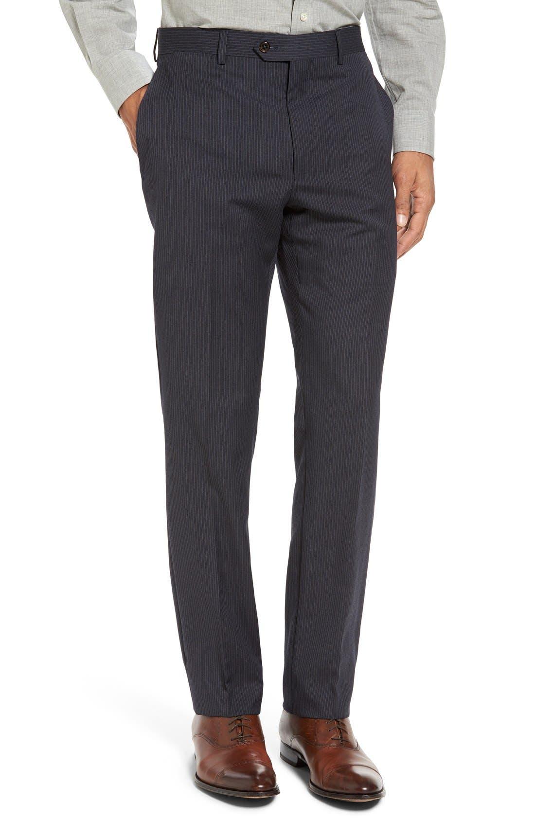Trim Fit Stripe Wool Suit,                             Alternate thumbnail 6, color,                             Dark Grey