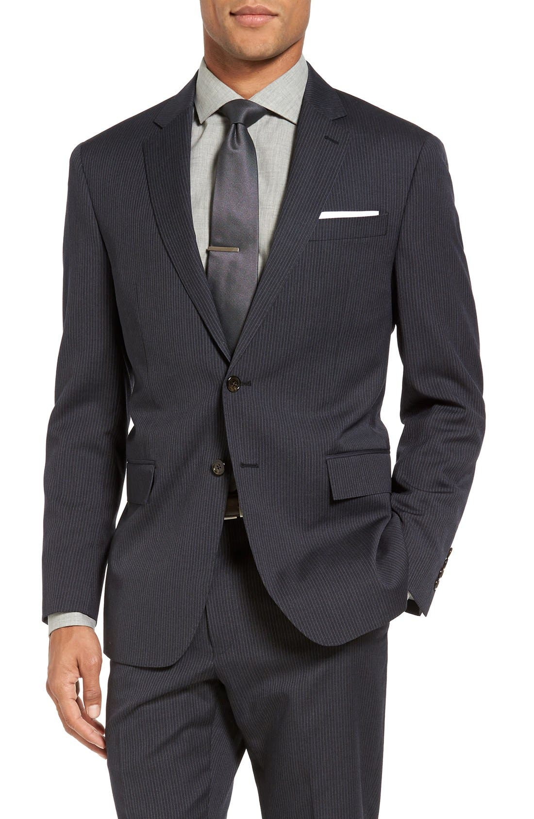 Trim Fit Stripe Wool Suit,                             Alternate thumbnail 4, color,                             Dark Grey