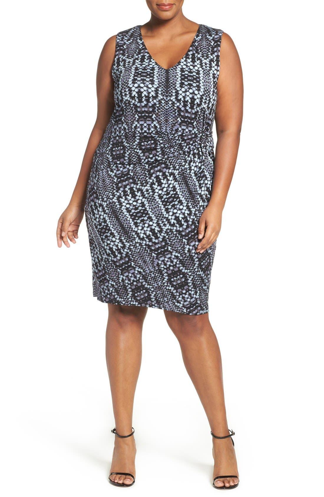 Margaux Twist Front Sheath Dress,                             Alternate thumbnail 4, color,                             Python Tintype