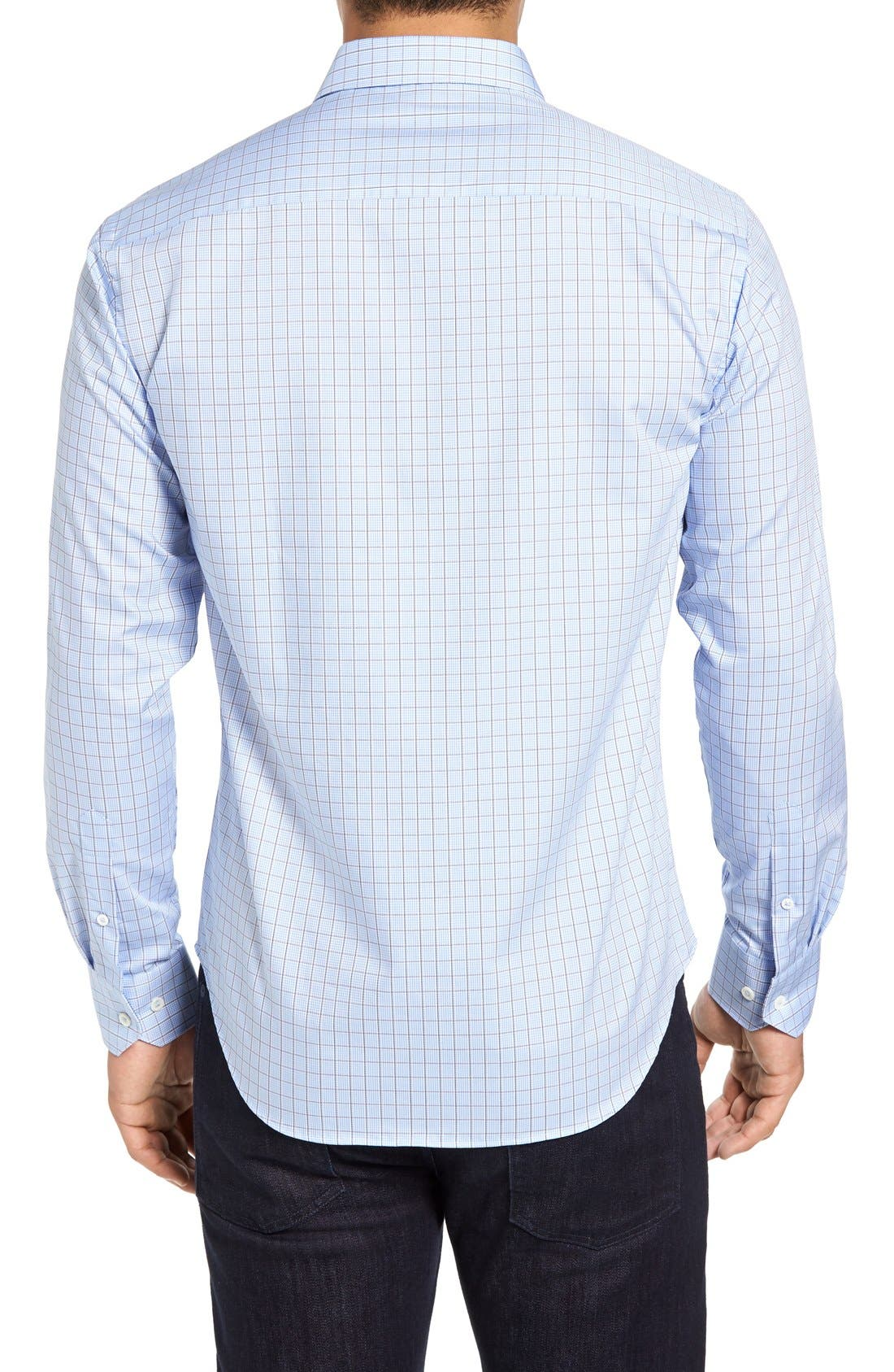 Alternate Image 2  - Bugatchi Shaped Fit Tattersall Sport Shirt