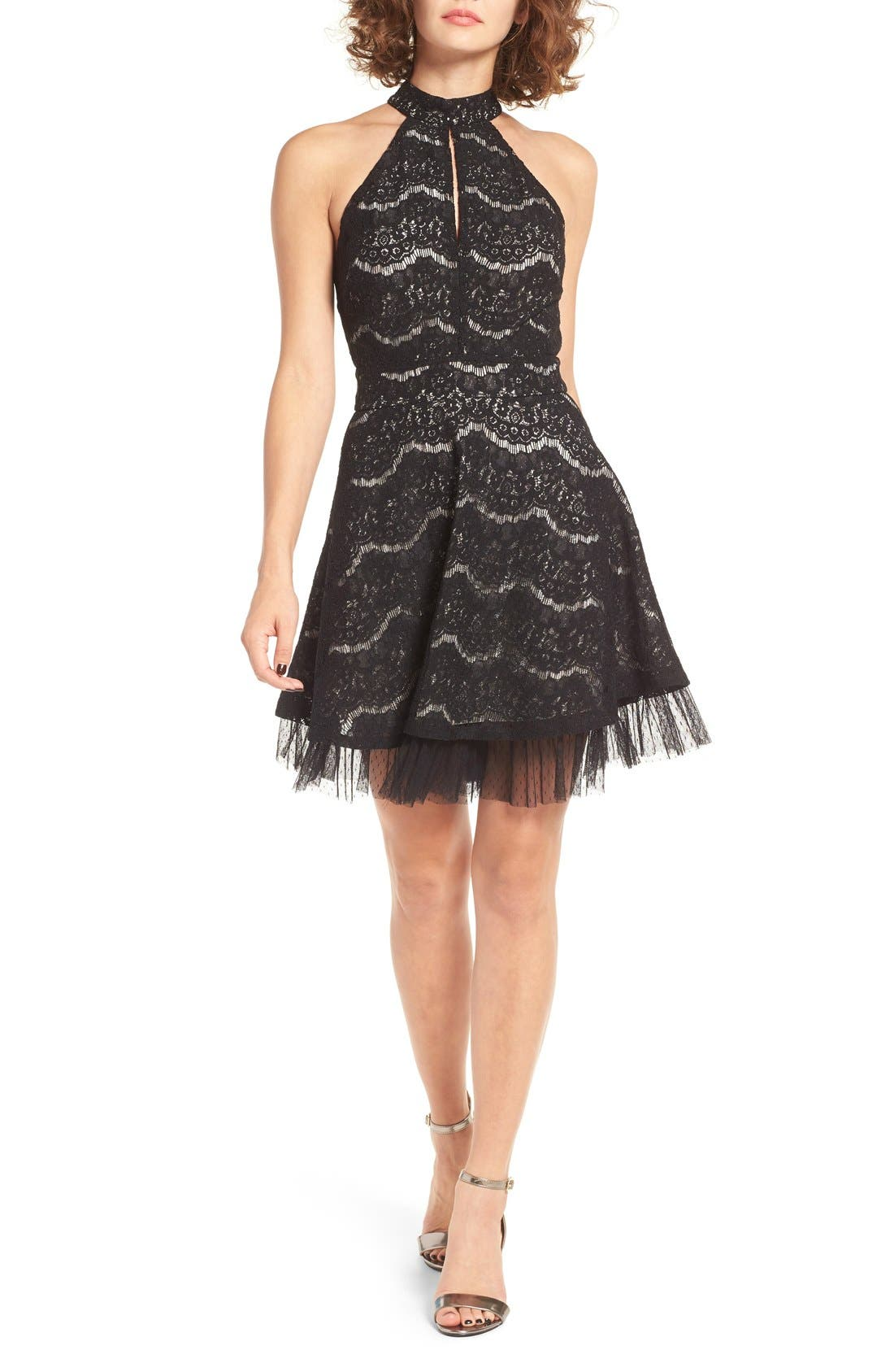 Lace Fit & Flare Dress,                             Main thumbnail 1, color,                             Black
