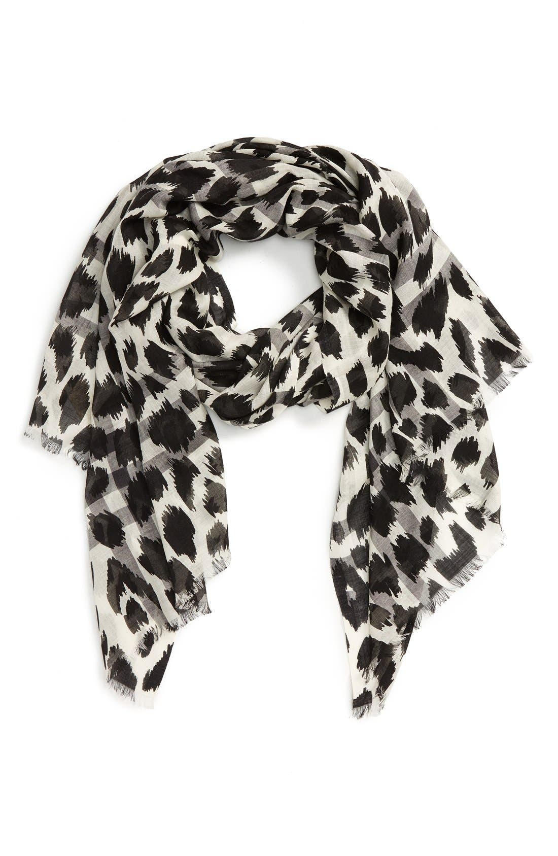 Main Image - Burberry Animal Print Mulberry Silk & Wool Scarf