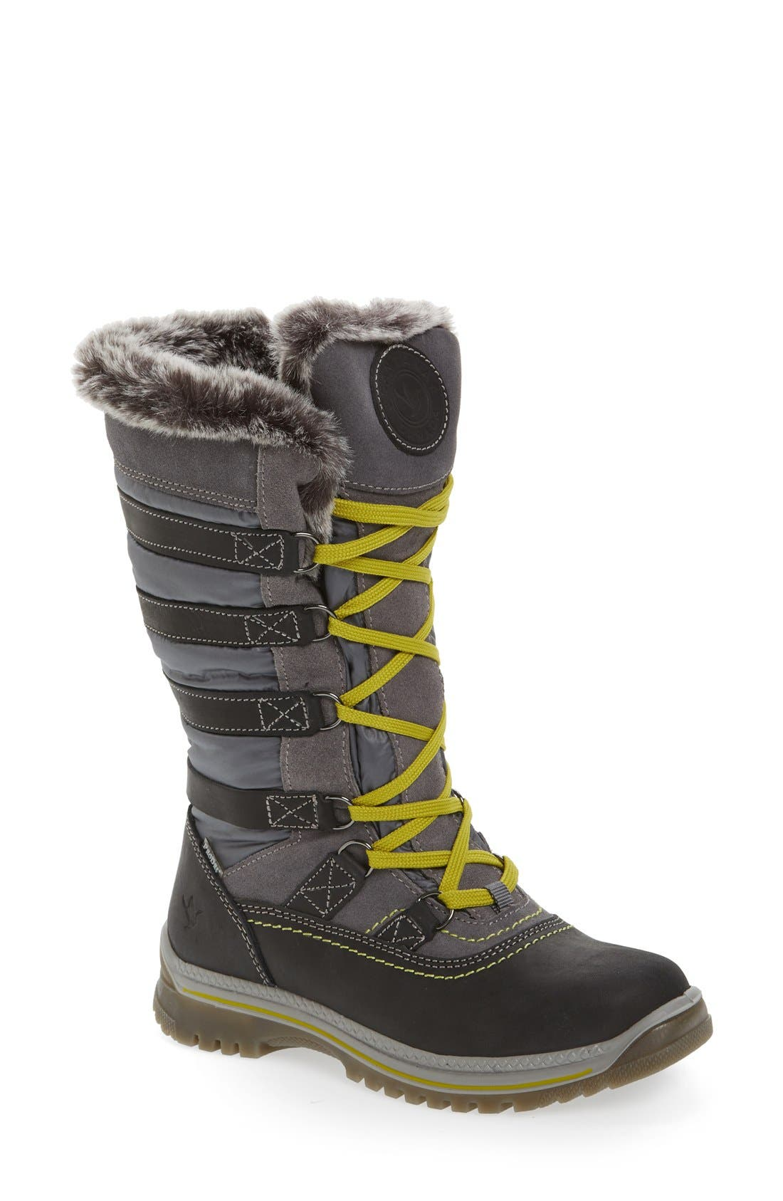 Milani Waterproof Faux Fur Boot,                             Main thumbnail 1, color,                             Grey Leather