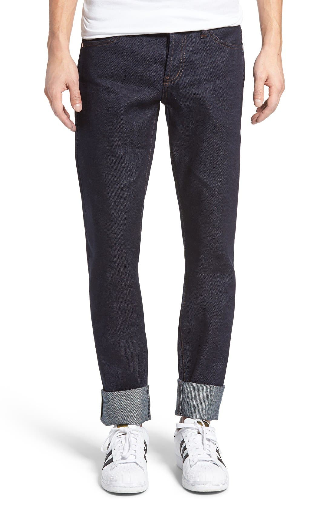 Alternate Image 1 Selected - The Unbranded Brand UB121 Selvedge Skinny Fit Jeans