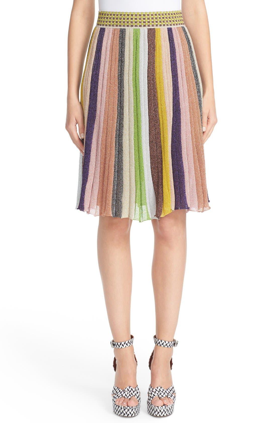 Main Image - Missioni Metallic Stripe Skirt