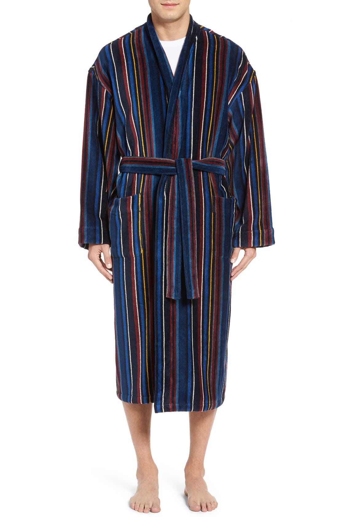 Terry Cotton Robe,                         Main,                         color, Grey Multi Stripe