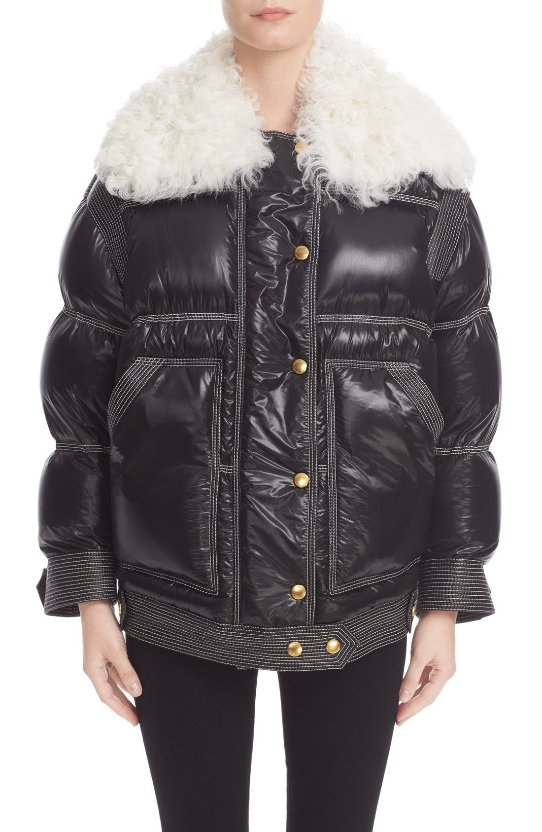 Main Image - Burberry Puffer Coat with Removable Genuine Shearling Collar