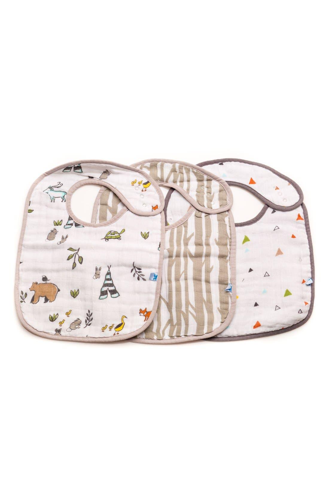Main Image - little unicorn 3-Pack Classic Cotton Muslin Bibs