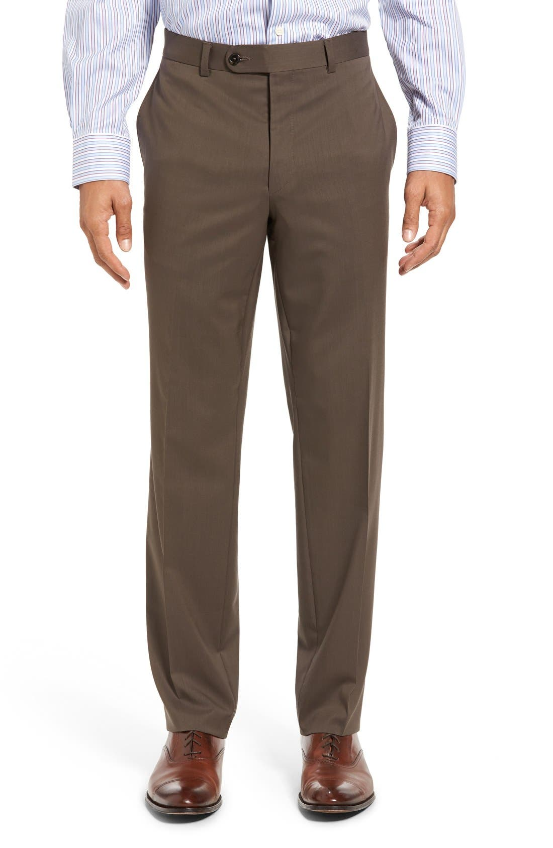 Alternate Image 1 Selected - David Donahue Ryan Regular Fit Wool Trousers