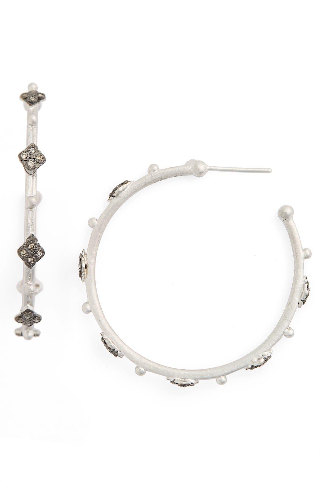 New World Crivelli Diamond Hoop Earrings,                             Main thumbnail 1, color,                             Silver