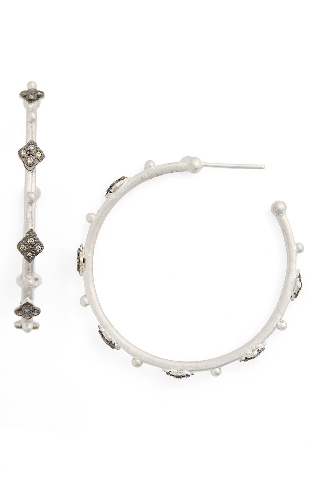 New World Crivelli Diamond Hoop Earrings,                         Main,                         color, Silver
