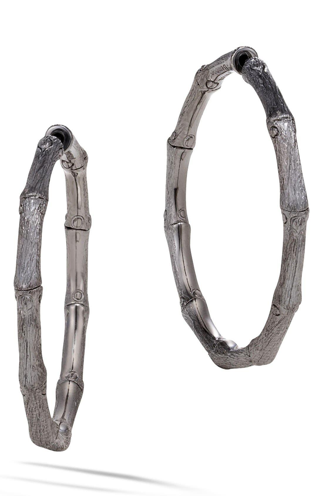 Bamboo Medium Hoop Earrings,                             Main thumbnail 1, color,                             Silver/ Black Rhodium